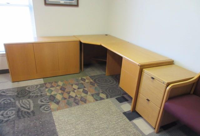 Indiana Furniture Company Light Oak Desk Corner Unit Credenza Return | JGu0027s  Old Furniture Systems