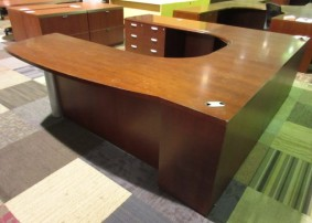 OFS Bowfront Executive U w/ Double Pedestals (Mahogany/Wood Veneer)