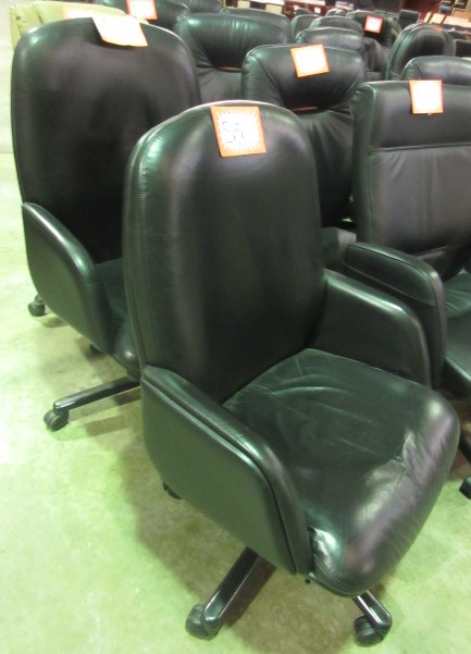 Vecta Leather Mid Back Desk Chairs (Black/Fixed Arms)