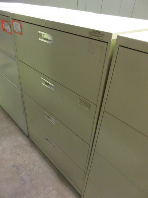 hon 36 4 drawer lateral file locking putty silver